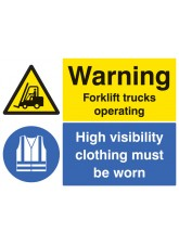 Warning Forklift Trucks Operating High Visibility Clothing Must Be Worn Beyond this Point