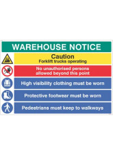 Warehouse Safety Caution forklift trucks, hivis, boots must be worn …