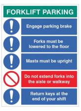 Forklift Parking Engage brakes, lower forks, return keys…