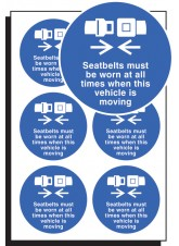 6 x Seatbelts Worn All Times Labels - 65mm Diameter
