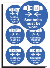 6 x Seatbelts Must be Worn Labels - 65mm Diameter