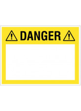 Danger (write your message), 450x600mm rigid PVC with wipe clean over laminate