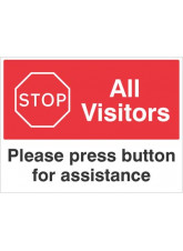 Stop All visitors Please press button for assistance