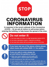 STOP - Do not enter if - Coronavirus Poster