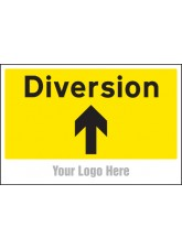 Diversion - Arrow Up / Straight On - Site Saver Sign - 600 x 400mm