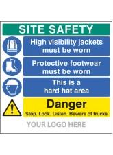 Site Safety Board, Hivis, Footwear, hard Hat, Trucks - Site Saver Sign 1220 x 1220mm