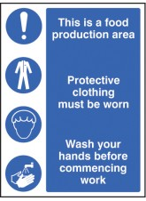 Food Production Area / protective Clothing / Wash Hands