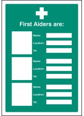First Aiders Are (Space for 3) - Adapt-a-Sign