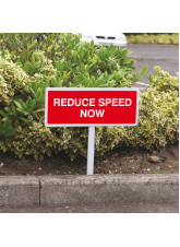 Reduce Speed Now - White Powder Coated Aluminium - 450 x 150mm (800mm Post)