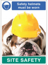 Safety helmets must be worn - dog poster 420x594mm synthetic paper
