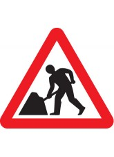 Fold Up Sign - Men At Work with Text Variant - 750mm Triangle