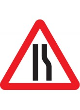 Fold Up Sign - Road Narrows Right with Text Variant Options - 750mm Triangle