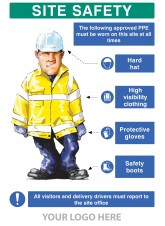 PPE Requirement Sign (Hat - Hivis - Gloves - Boots)