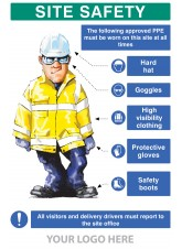 PPE Requirement Sign (Hat - Goggles - Hivis - Gloves - Boots)