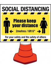 Social Distancing Cone Sign