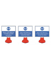 Mandatory Social Distancing Cone Sign - 1m / 2m / Generic Distance Options