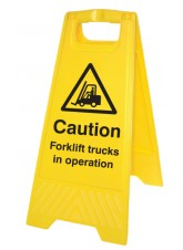 Caution Forklift Trucks in Operation - Self Standing Folding Sign