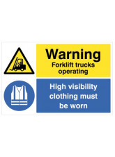 Floor Graphic - Warning Forklifts Operating, Hi-vis clothing must be worn