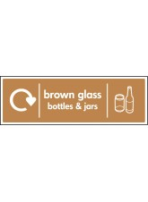 WRAP Recycling Sign - Brown Glass Bottles & Jars